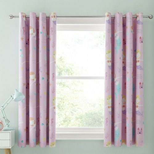 Catherine Lansfield Let's Be Mermaids Pink Blackout Eyelet Curtains